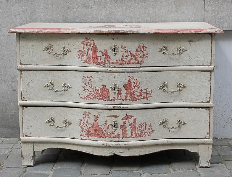 German 18th C. painted chest of drawers