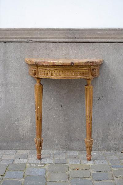 Gilded wood and marble L XVI console