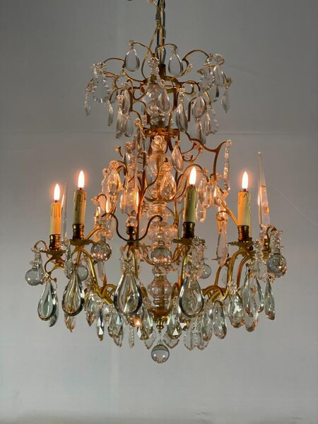 Gilt Bronze Chandelier Garnished With Tassels, Circa 1940