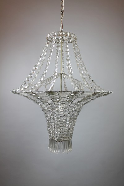 Glass pearl bag chandelier, late 19th