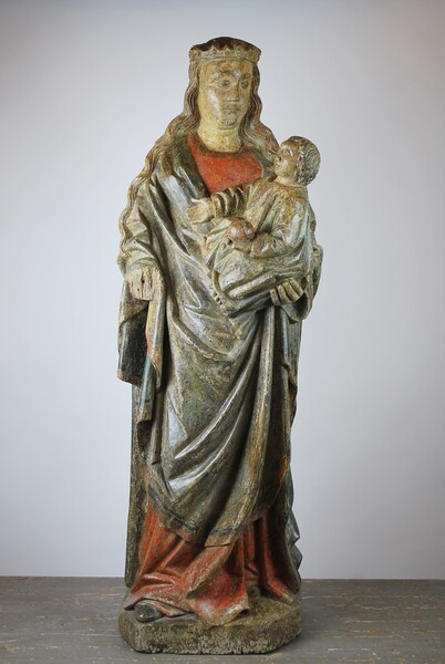 Gothic Virgin And Child In Polychrome Wood 15th