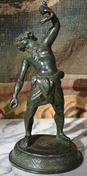 Green Patinated Bronze of a man fighting a snake, 19th.c