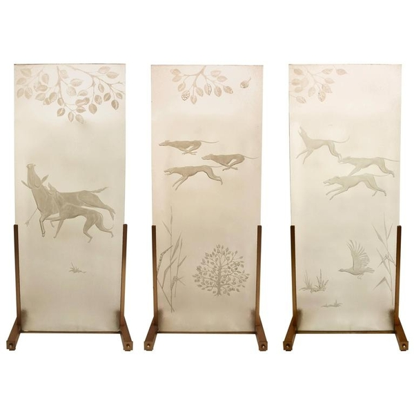Hunting Scene on Italian Etched Glass Panels Mounted on Brass Base