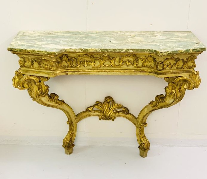 Italian Carved Wood Console - 19th Century