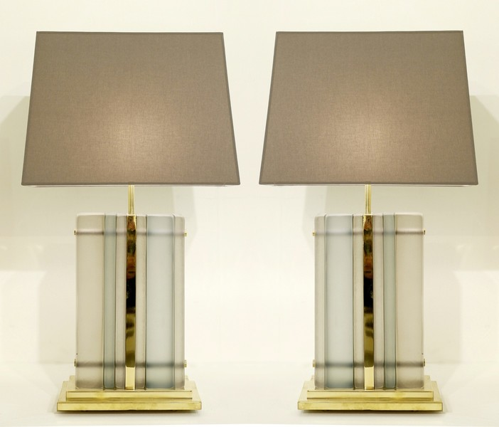 Italian Frosted Glass Table Lamps
