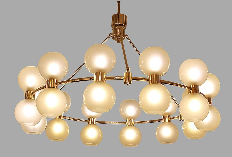 Large italian crown chandelier in brass and opaline, 2 Available