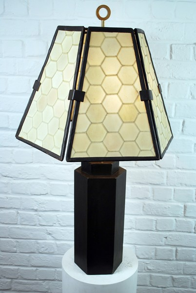 Large Leather And Parchment Lamp