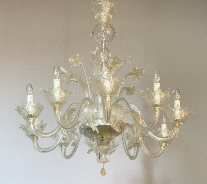 Lightly gilded Murano Chandelier, 10 arms of light