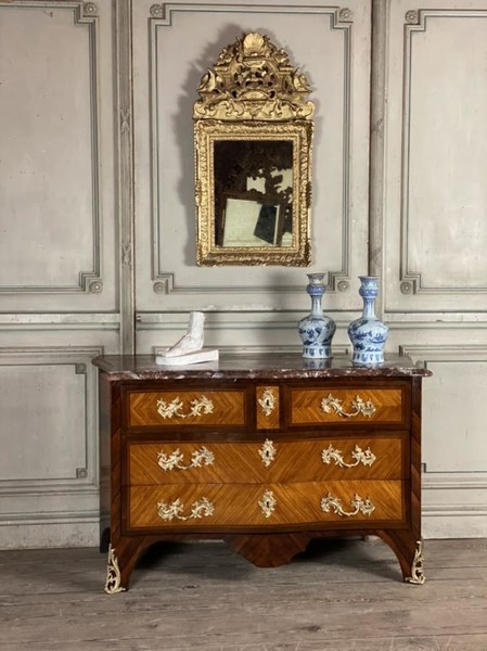 Louis XV rosewood and rance marble chest of drawers