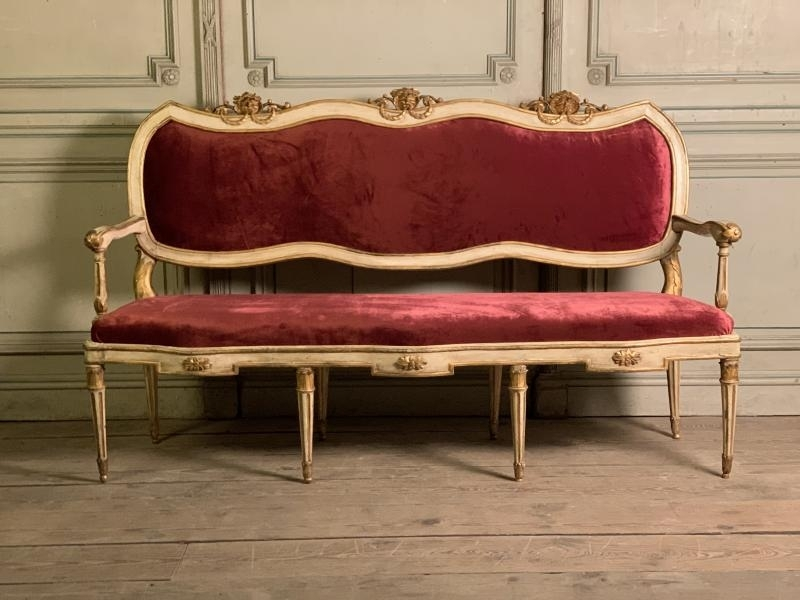 Louis XVI italian carved and painted bench