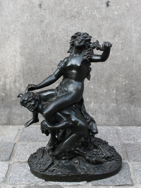 Maenad and satyr, bronze sculpture signed Clodion
