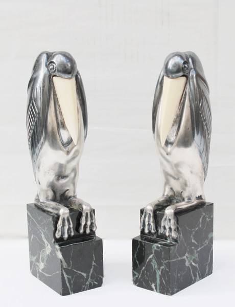 Marcel-André Bouraine (1886-1948) Pair of art deco bookends