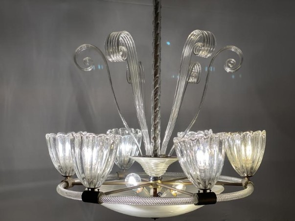 Murano art deco glass chandelier, Seguso