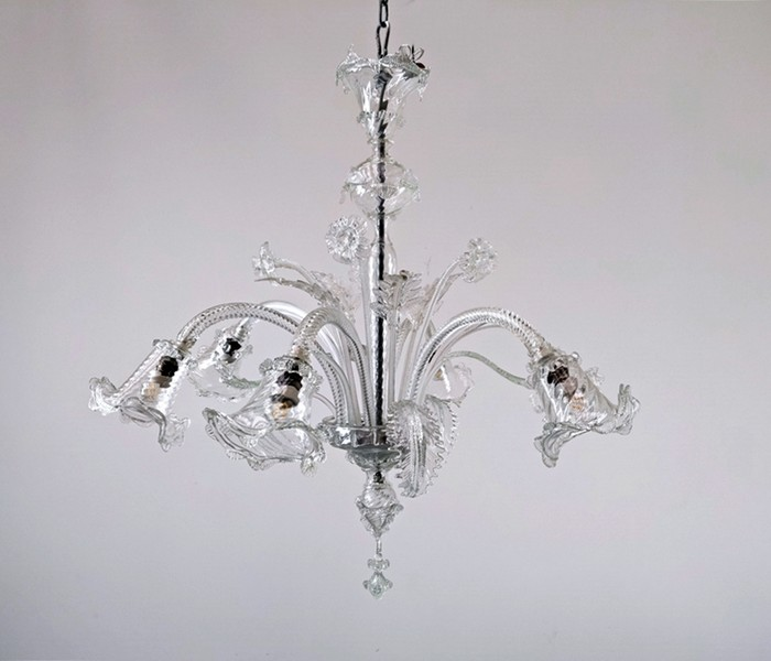 Murano chandelier with 6 arms of lights