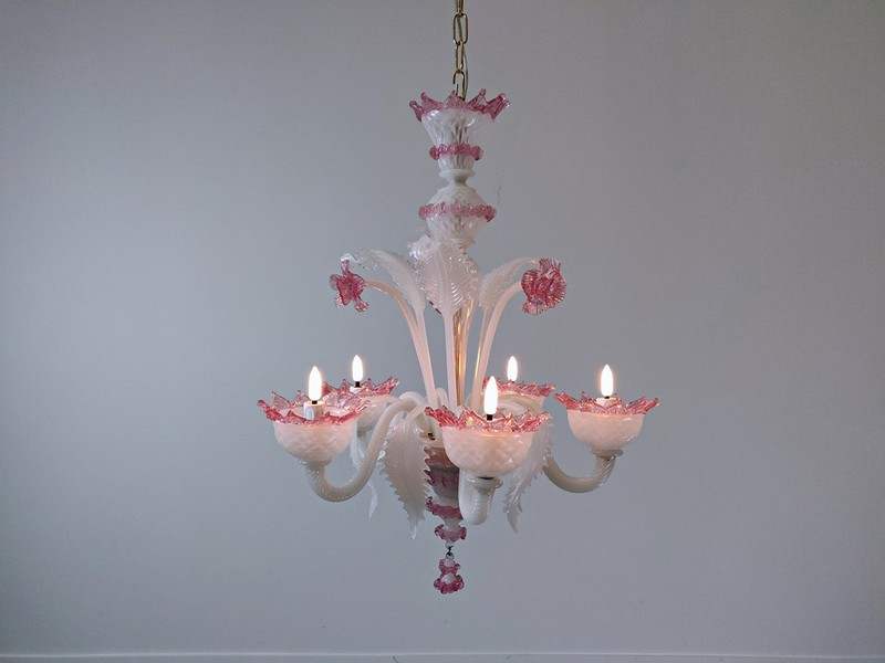 Murano opalin glass chandelier, 5 arms of light