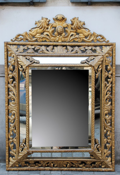 Napoleon III carved wooden mirror