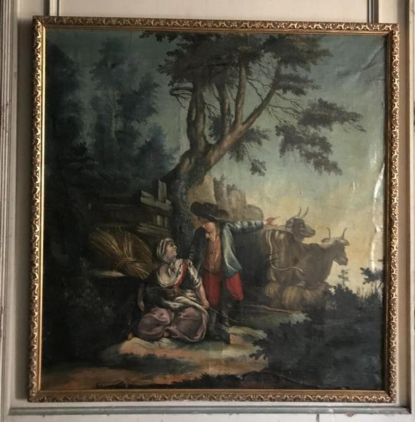 Oil on canvas stretched on a panel, pastoral scene, 18th C.