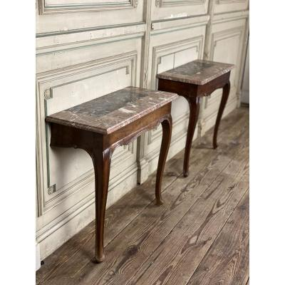 Pair of 18th C. fruit wood and marble consoles