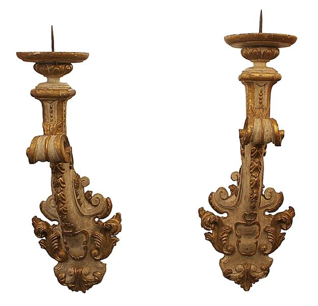 Pair of 18th C. Italian Wall Mounted Candelabras