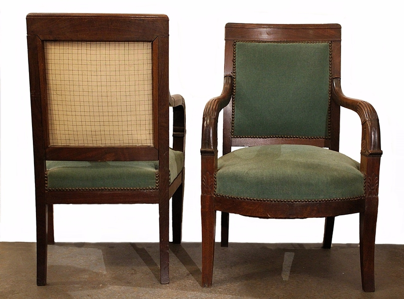 Pair of 19th c. french restauration armchairs in mahogany