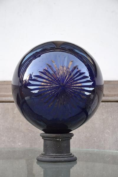 Pair of Apothecary Ball in cobalt blue cut crystal