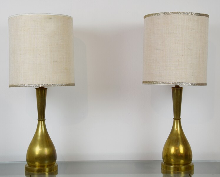 Pair of brass lamps, Italy, 1950's