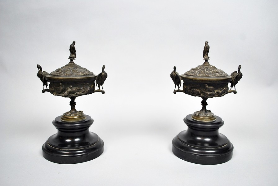 Pair of bronze and marble cassolettes