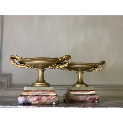Pair Of Bronze Patina Medal Cups On Marble Plinths