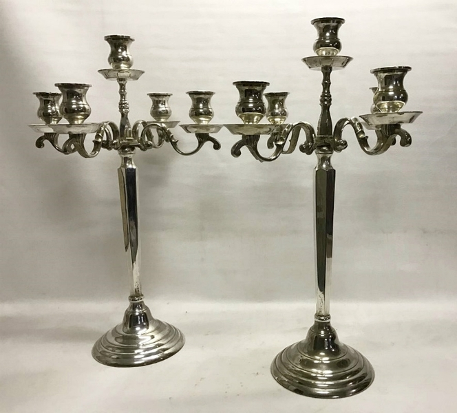 Pair of Candlesticks in Silvery Metal, Circa 1930