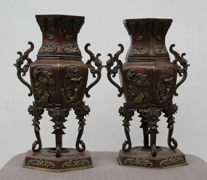 Pair of chinese bronze incense burners