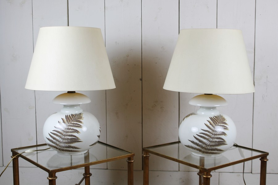 Pair of earthenware lamps