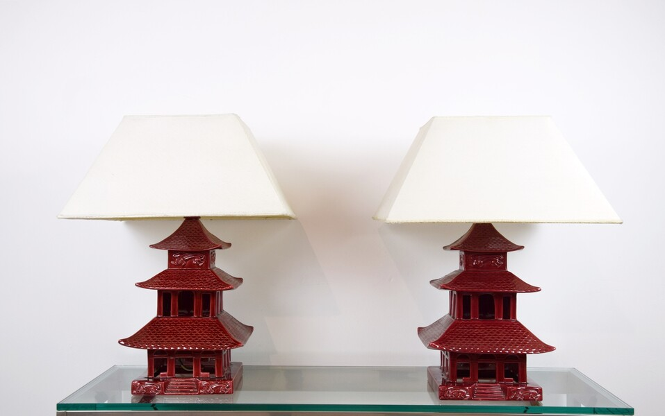 Pair of earthenware pagoda lamps