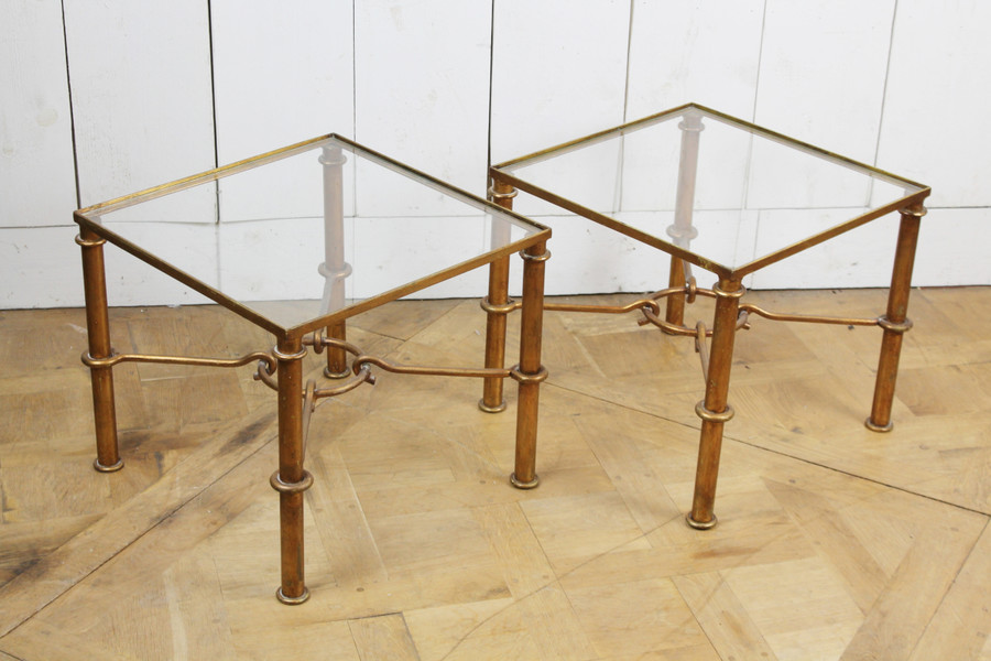 Pair of end tables in gilded wrought iron