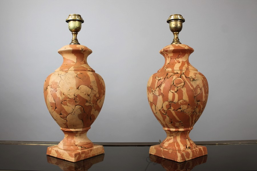 Pair of faux marble lamps in terracotta