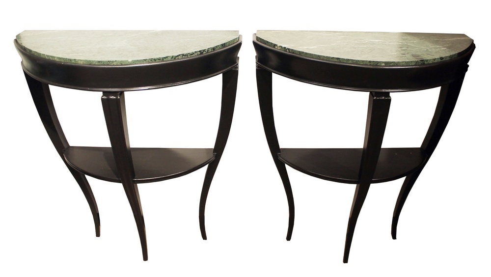 Pair of half moon consoles, attributed to Gio Ponti