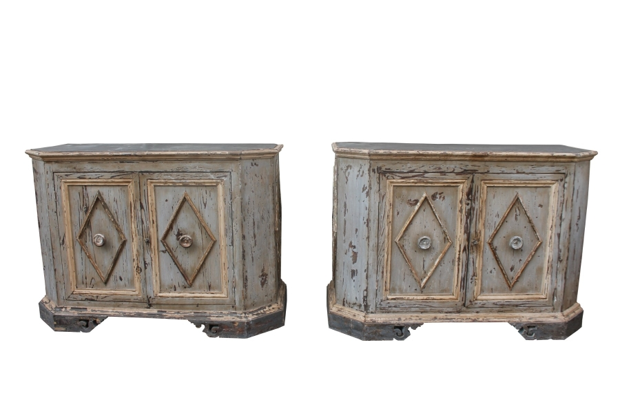 Pair of italian patinated cabinets