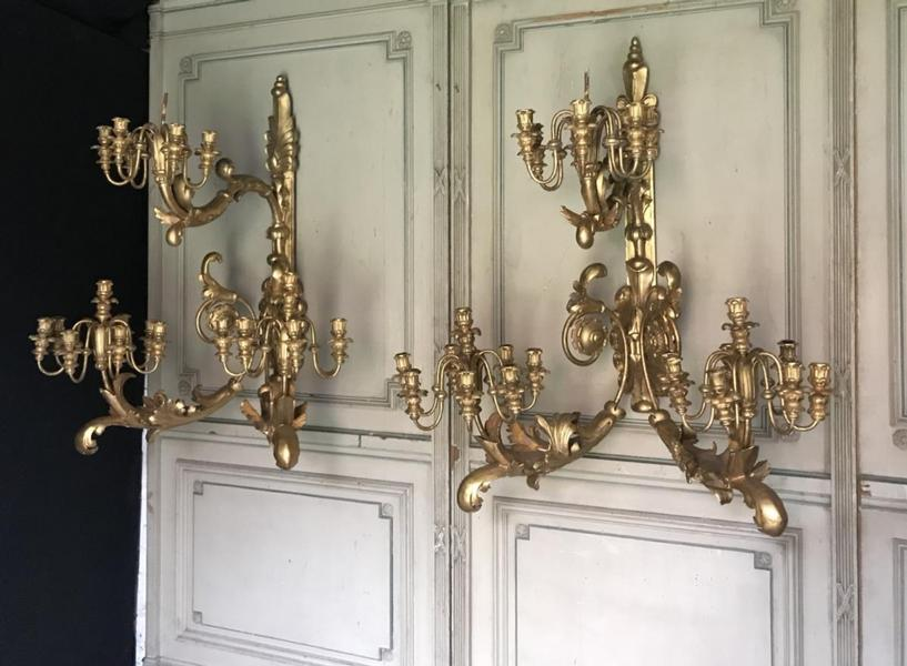 Pair of large gilded wood sconces, 19th century