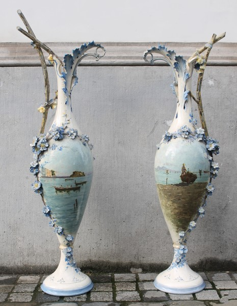 Pair of large painted porcelain vases