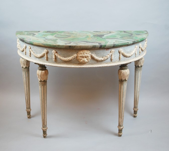 Pair of Louis XVI style half moon consoles in patinated wood