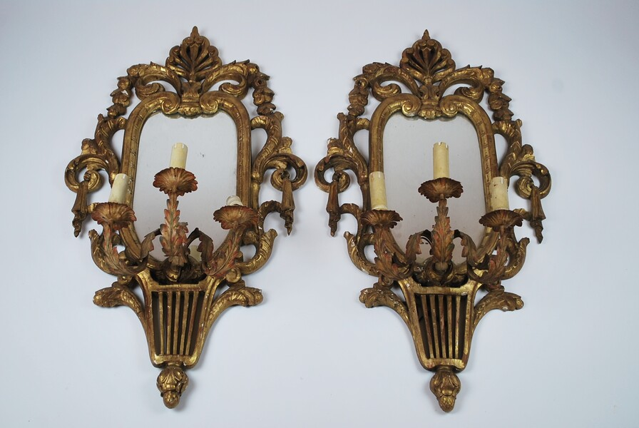 Pair of Louis XVI style mirrors with 3 sconces, Italy early 20th