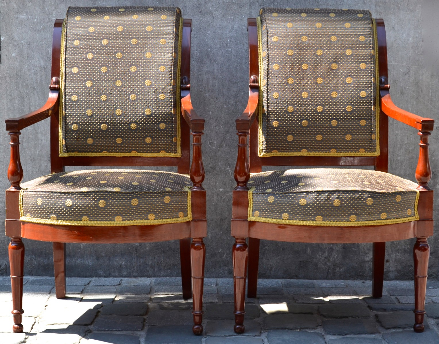 Pair Of Mahogany French Directoire Armchairs, Beautiful Upholsery Work And  Fabric   Armchairs   Seating   Galerie Des Minimes. U2039