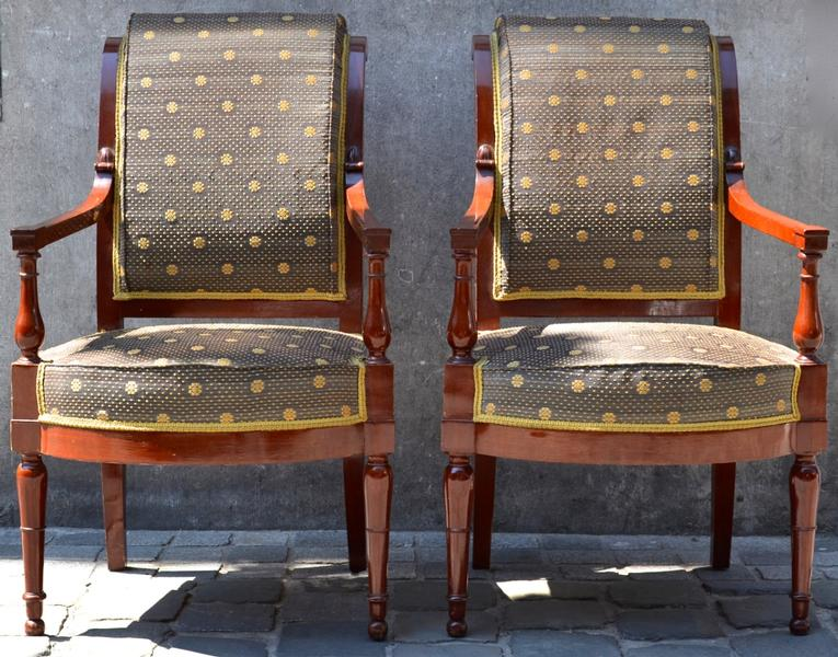 Pair of Mahogany French Directoire Armchairs, Beautiful Upholsery Work and Fabric