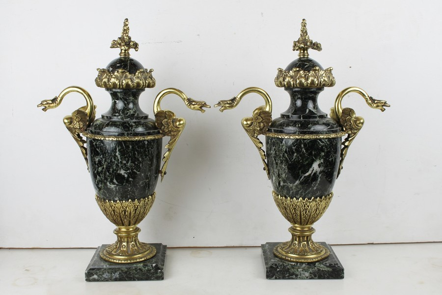 Pair of marble and gilt bronze casseroles