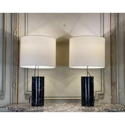 Pair of marquina marble lamps, circa 1980's