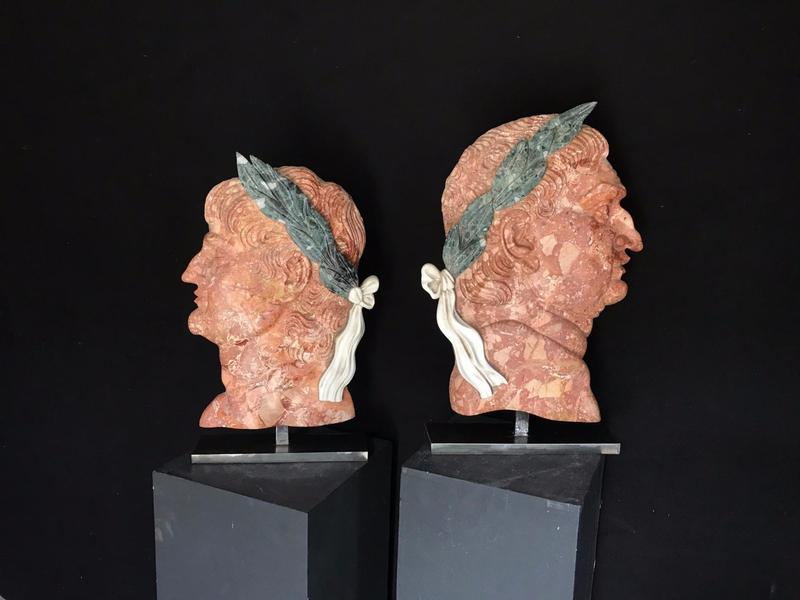 Pair of Roman Emperors Marble Profiles