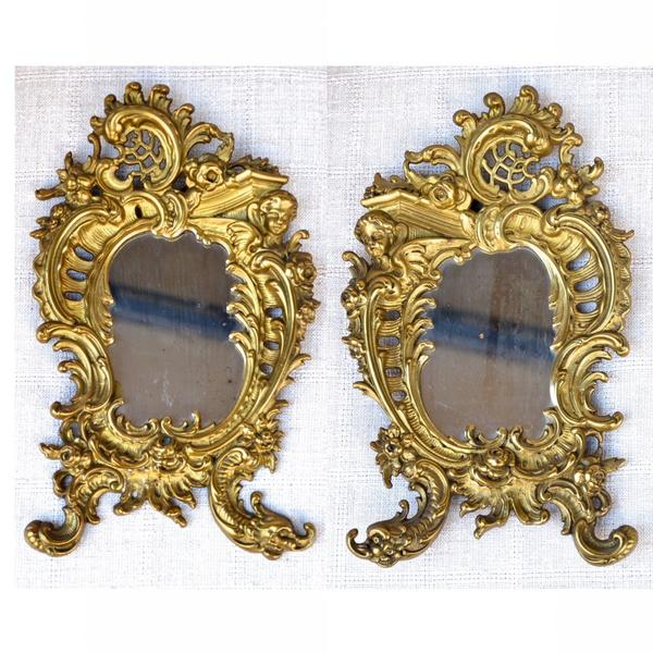 Pair of small Napoleon III Gilt Bronze Mirrors in the Louis XV style