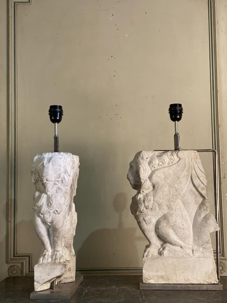 Pair of stone architectural elements lamps