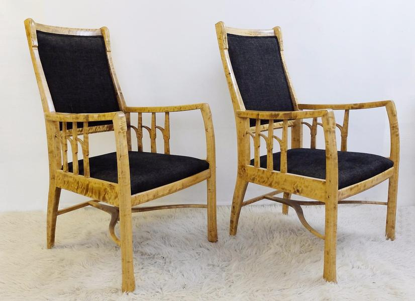 pair of Swedish Birch Armchairs - circa 1920