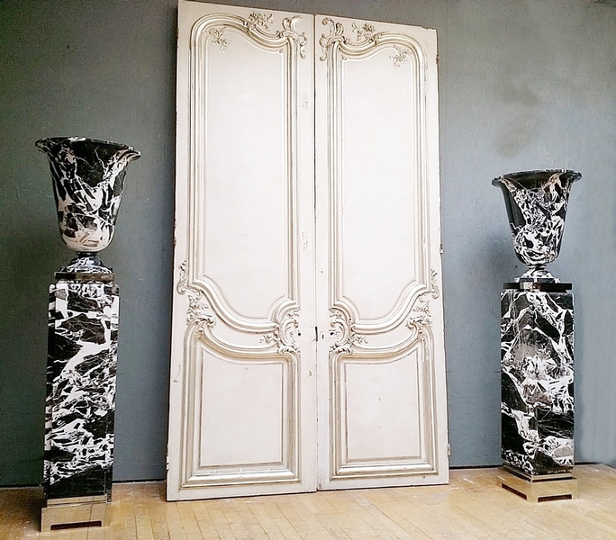 Pair Of Vase And Columns, Large Antique Marble, Art Deco Style