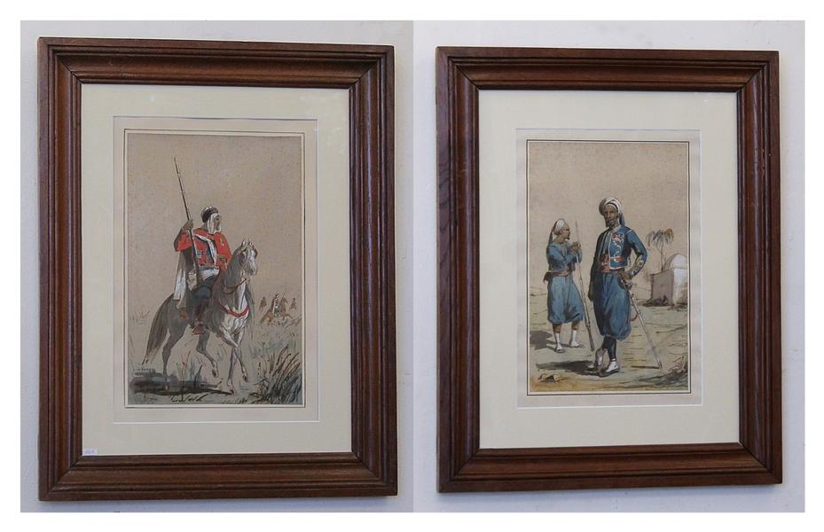 Pair of watercolors on paper, soldiers, Signed Le Pippre, 19th c.